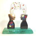 Eratini - dubbelzijdig glasobject 'Metamorphosis Quantum' - 'Verbondenheid' - H 40 cm € 599,-