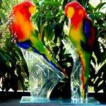 Glaswerken - unieke 2-delige set vogels 'Lovebirds' in primaire kleuren - Karbownik - H 28 cm € 149,95