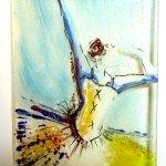 Exclusieve glaskunst voor de wand ... met close up van de danseres met zwierige rok ...