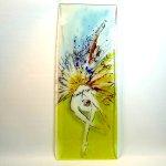 Glaskunstwerk voor de wand - uniek glasschilderij 'Danseres' - Katarzyna Karbownik - HxB 80x30 cm € 429,-