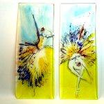 Unieke kunstwerken in glas - schilderijen 'Danseressen, vrouwen' mooi als 2-luik - HxB 80x70 cm € 858,-