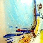 Uniek glaskunstwerk voor aan de wand ... duidelijk geïnspireerd door kunstschilder Dégas ...