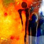 Exclusieve wandkunst in modern glas, 'Verbondenheid brengt een kleurrijke wereld voort, waarin kilte verdwijnt'