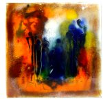 Uniek, exclusief glas in kunst voor wand 'Allen liefdevol verbonden in het universum' - BxH 42x42 cm € 289,-