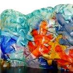 Modern glasdesign in een kleurig golvend kunstwerk in dik reliëfglas - Rubaniuk - BxHxD 54x37x5 cm € 499,-