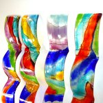 Moderne 3d glaskunstwerken voor de wand in leuke golvende vormen - M. Rubaniuk - HxB 60x8 cm elk € 79,95