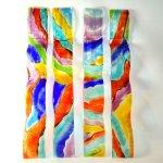 Moderne kunst voor de muur - unieke glaswerken in kleur - golvend design - Rubaniuk - HxB 60x8 cm á € 79,95