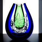 Glaskunst - exclusief sculptuur / vaas - zwaar dik kristalglas - Ozzaro glasstudio - HxBxD 22x16x7 cm € 529,-