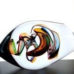 Glasobject in zwaar, ambachtelijk vervaardigd, mond geblazen glas ..., optisch aan elke zijde anders ...