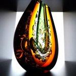 Kunstobject - prachtig geslepen zwaar glas sculptuur / vaas in kristalglas -  Ozzaro - HxBxD 26 cm € 569,-