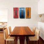 Deze kunstwerken combineren mooi met houtsoorten, alsook gelakte meubels