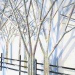 3D wanddecoratie met kleurnuances in ton-sur-ton tinten en contrasterende kleur zwart in het hekwerk