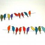 Wandobjecten - metalen vogels - 320880 Chit Chat - C. Jeré by Artisan House - 2-delig á 117x23x4 cm totaal € 539,-