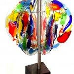 7 glasschijven - rvs / natuursteen 78x60x60 cm € 995,-