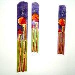 Wandkunst van glas - klok met huisjes - Eratini - HxB 70x10 cm € 149,95 / 49x7 cm € 119,95