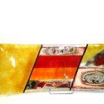 Moderne glaskunst - schaal, kleurrijk en groot, in prachtig golvend design - Eratini - LxBxD 59x23x4 cm € 199,-