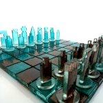 Exclusieve kunst en prachtig design - schaakbord 'Chess' , geheel van glas - Eratini - LxB 42x42 cm € 1079,-