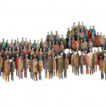 Hand beschilderd 3D metalen wandobject met symboliek verbondenheid 'Allen komen we te samen ...', staand voor 'bijzondere en grootse bijeenkomsten met grote saamhorigheid', met signatuur en certificaat BxHxD 130x48x9 cm € 629,-