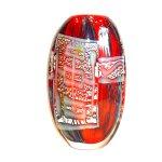 Exclusief kunstwerk in glas - ovale vaas met zilveren pictogrammen - HxBxD 34x20x10 cm € 997,-