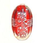 Uniek kunstwerk in glas - zware ovale vaas in mooie kleuren met pictogrammen - HxBxD 32x19x9 cm € 979,-