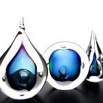 Abstracte glasobjecten Ozzaro - kristal glas - 'druppels' H 10-12-14 cm 3-delige set € 89,50 nu € 79,50
