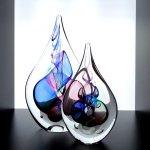Glaskunst Ozzaro - glasobjecten 'druppel' - HxBxD 20x12x4 cm € 59,95 / 14x9x3 cm € 29,95 / set nu € 79,90