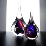 Kunstobjecten - mooie 'druppels' in kleurrijk glas - Ozzaro glaskunst - H 23 cm € 59,95 / 13 cm € 29,95 / set € 79,90