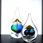Mooie mond geblazen platte druppels - Ozzaro glaskunst - H 22 cm € 59,95/ 15 cm € 29,95 / set nu € 79,90