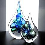 Mooie abstracte kunstobjecten - Ozzaro glas - 'druppels' - H 22 cm € 59,95 / 14 cm € 29,95 / nu set € 79,90