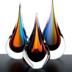 Kunst, glas en design - set kleurrijke druppels - Ozzaro - H 25 cm € 99,- / 22 cm € 69,- / 16 cm € 49,-
