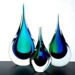 Kunst - Boheems glas kristal - elke druppel is uniek - H 25 cm € 99,- / 22 cm € 69,- / 16 cm € 49,- (niet voorradig)